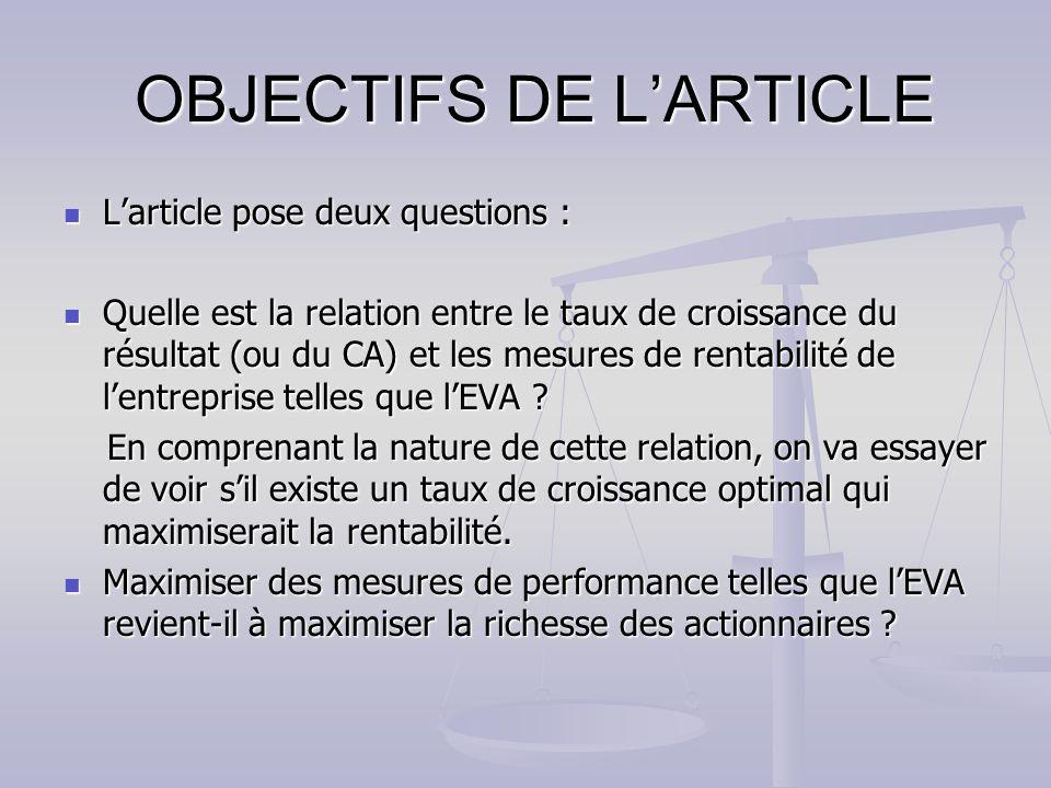 OBJECTIFS DE LARTICLE OBJECTIFS DE LARTICLE Larticle pose deux questions : Larticle pose deux questions : Quelle est la relation entre le taux de croissance du résultat (ou du CA) et les mesures de rentabilité de lentreprise telles que lEVA .