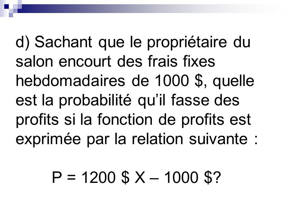 d) Sachant que le propriétaire du salon encourt des frais fixes hebdomadaires de 1000 $, quelle est la probabilité quil fasse des profits si la fonction de profits est exprimée par la relation suivante : P = 1200 $ X – 1000 $