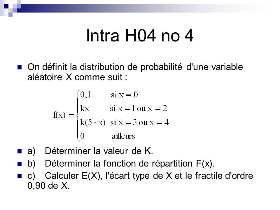 Intra H04 no 4 On définit la distribution de probabilité d'une variable aléatoire X comme suit : a)Déterminer la valeur de K. b)Déterminer la fonction