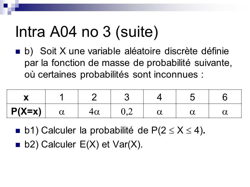 Intra A04 no 3 (suite) b)Soit X une variable aléatoire discrète définie par la fonction de masse de probabilité suivante, où certaines probabilités sont inconnues : b1) Calculer la probabilité de P(2 X 4).