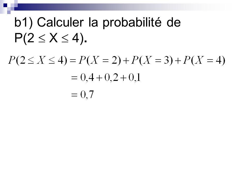 b1) Calculer la probabilité de P(2 X 4).