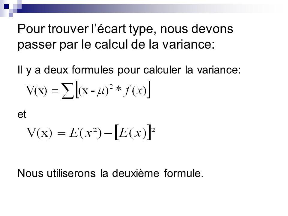 Pour trouver lécart type, nous devons passer par le calcul de la variance: Il y a deux formules pour calculer la variance: et Nous utiliserons la deux