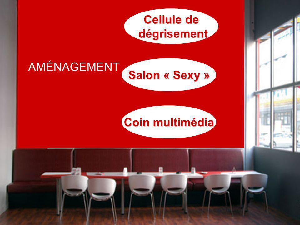 AMÉNAGEMENT Cellule de dégrisement dégrisement Salon « Sexy » Coin multimédia