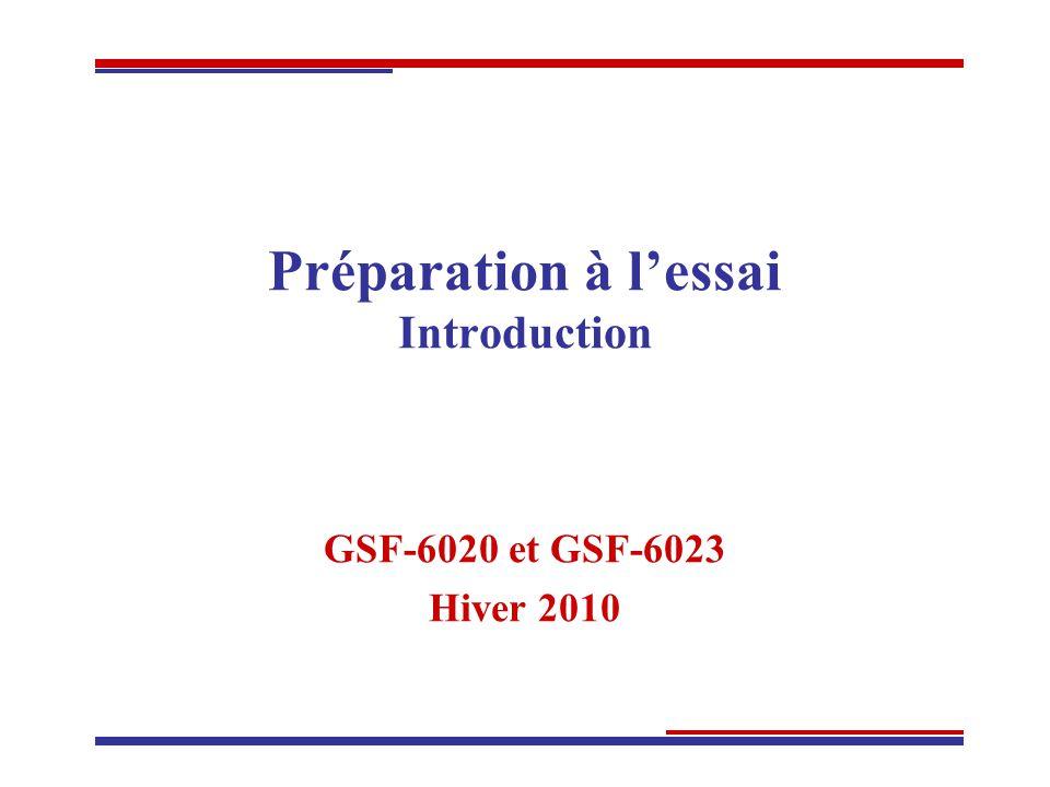 Préparation à lessai Introduction GSF-6020 et GSF-6023 Hiver 2010