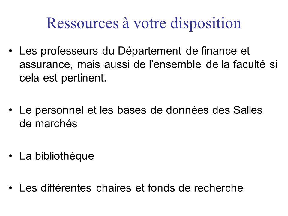 Ressources à votre disposition Les professeurs du Département de finance et assurance, mais aussi de lensemble de la faculté si cela est pertinent. Le