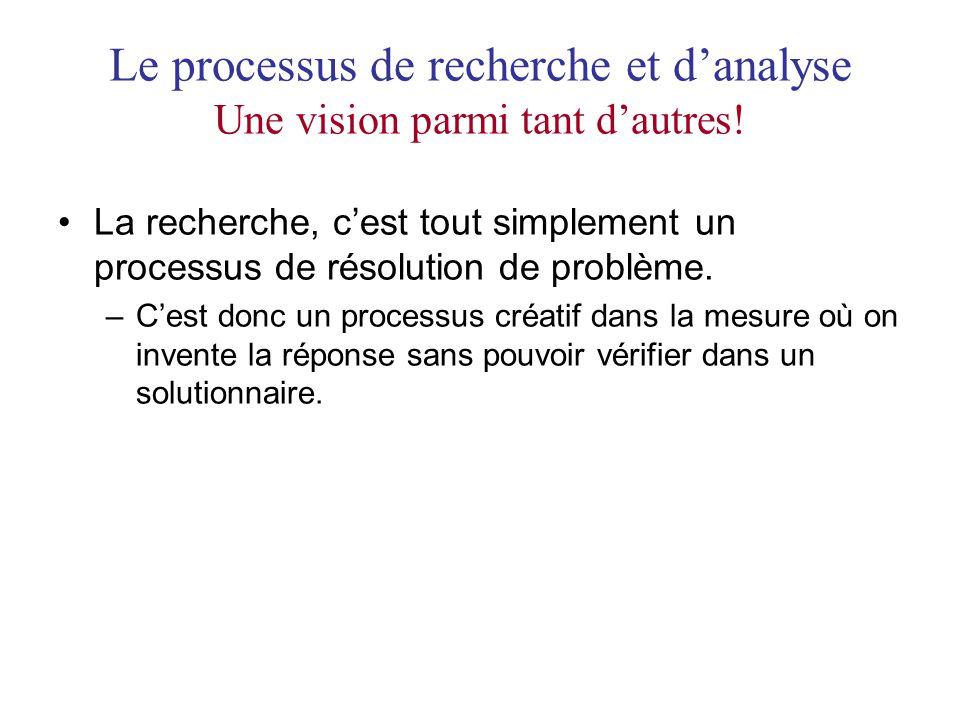Le processus de recherche et danalyse Une vision parmi tant dautres! La recherche, cest tout simplement un processus de résolution de problème. –Cest