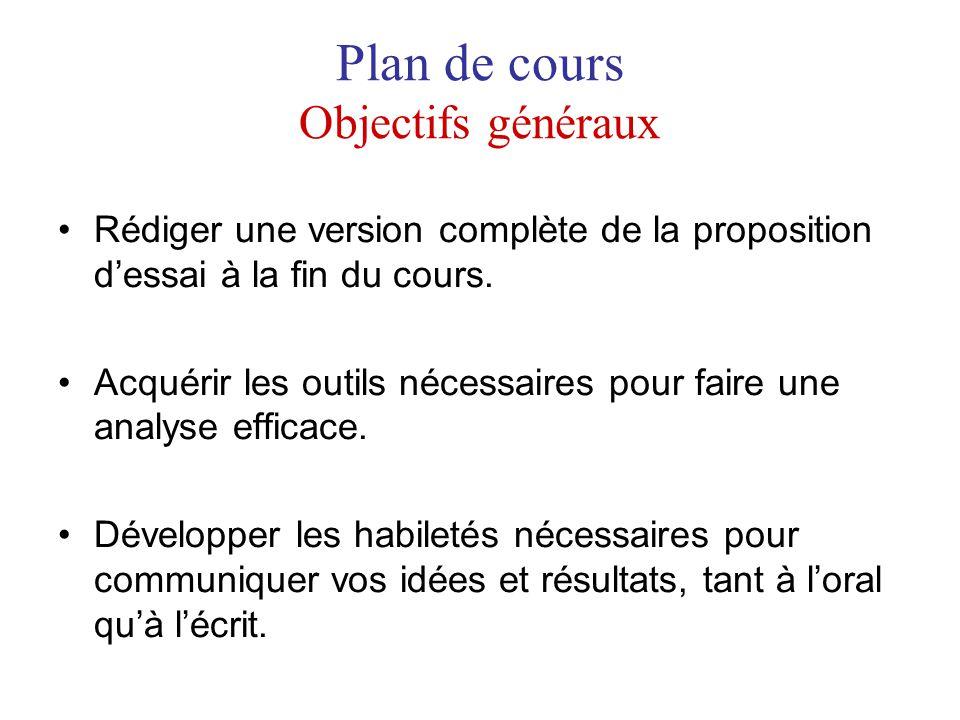 Plan de cours Objectifs généraux Rédiger une version complète de la proposition dessai à la fin du cours. Acquérir les outils nécessaires pour faire u