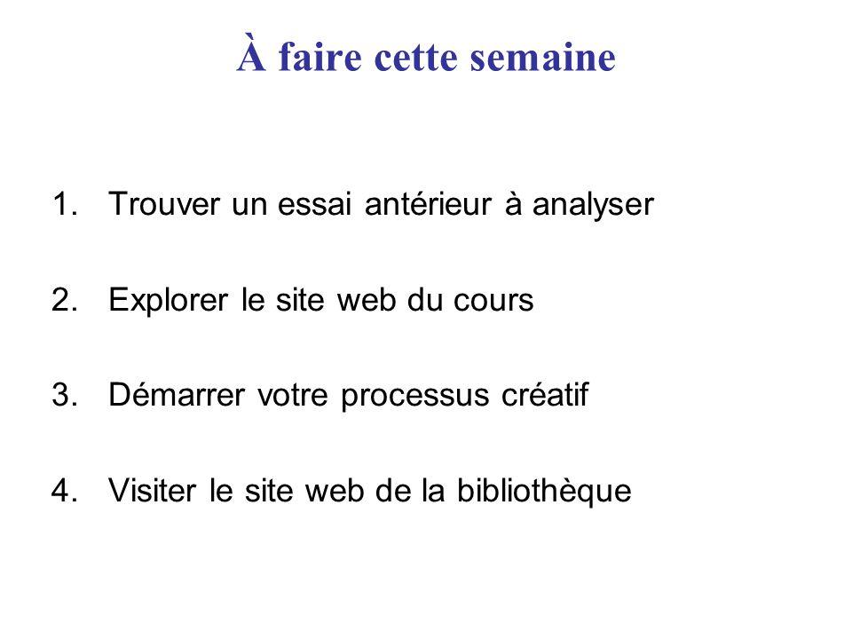 À faire cette semaine 1.Trouver un essai antérieur à analyser 2.Explorer le site web du cours 3.Démarrer votre processus créatif 4.Visiter le site web