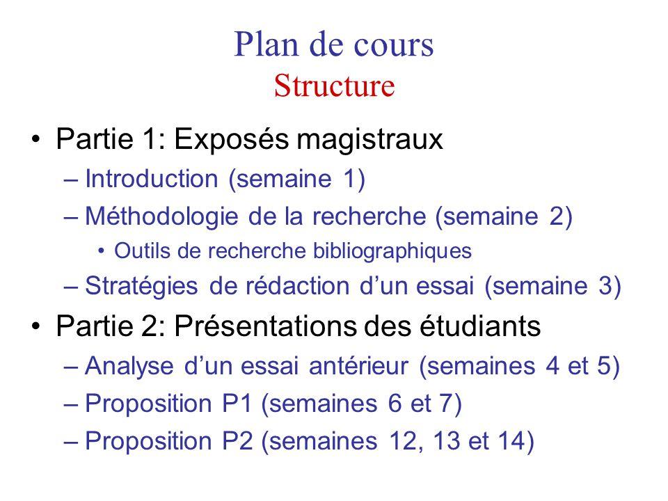 Plan de cours Structure Partie 1: Exposés magistraux –Introduction (semaine 1) –Méthodologie de la recherche (semaine 2) Outils de recherche bibliogra