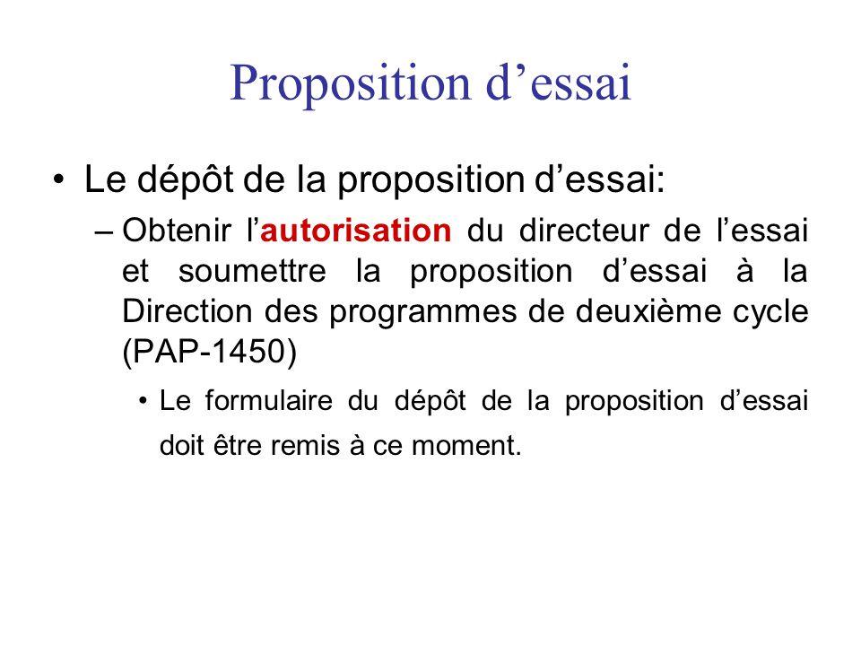 Proposition dessai Le dépôt de la proposition dessai: –Obtenir lautorisation du directeur de lessai et soumettre la proposition dessai à la Direction