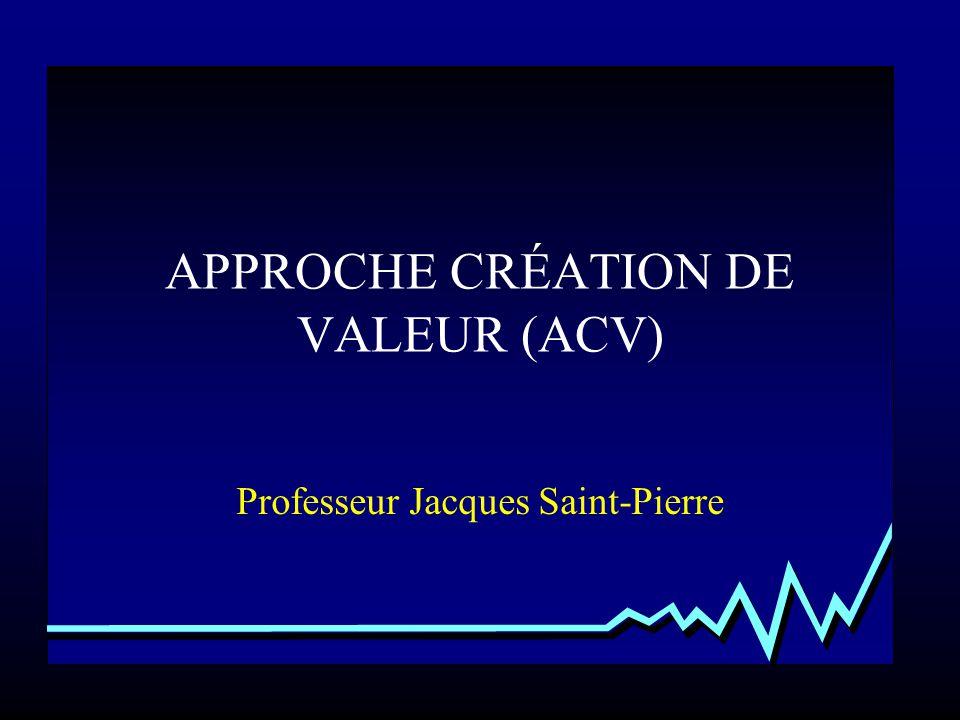 APPROCHE CRÉATION DE VALEUR (ACV) Professeur Jacques Saint-Pierre