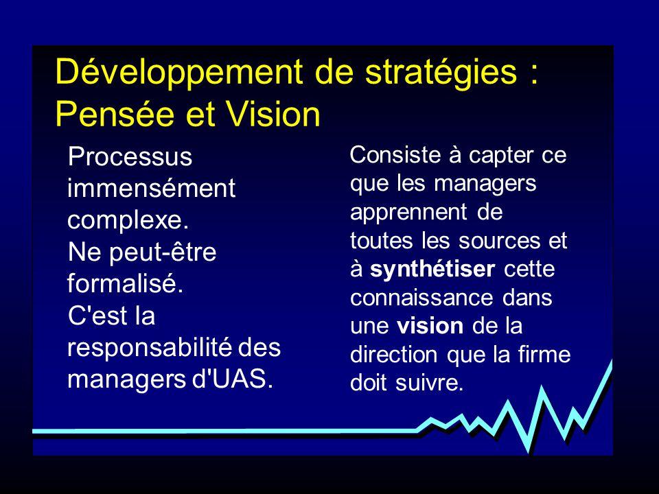 Processus immensément complexe. Ne peut-être formalisé. C'est la responsabilité des managers d'UAS. Consiste à capter ce que les managers apprennent d