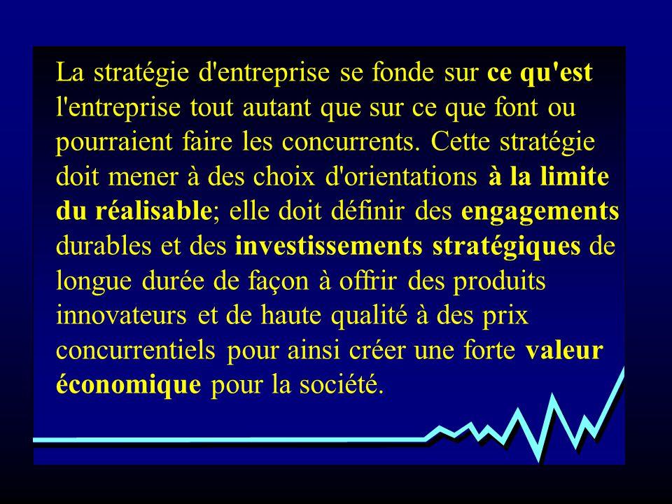 La stratégie d'entreprise se fonde sur ce qu'est l'entreprise tout autant que sur ce que font ou pourraient faire les concurrents. Cette stratégie doi
