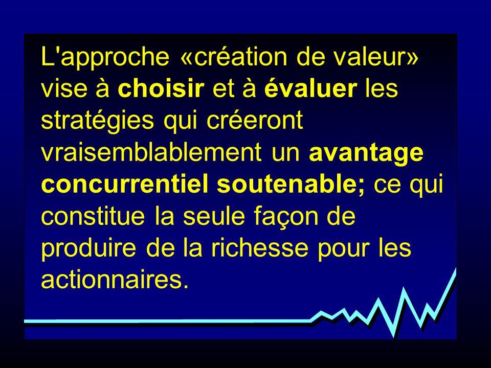 L'approche «création de valeur» vise à choisir et à évaluer les stratégies qui créeront vraisemblablement un avantage concurrentiel soutenable; ce qui