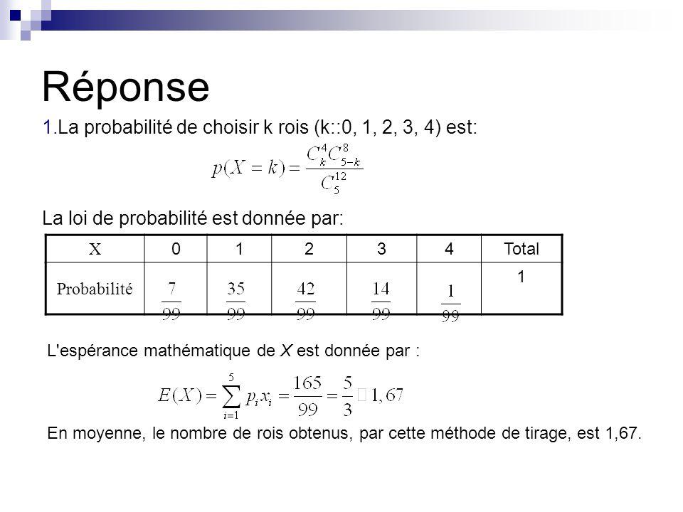 Réponse 1.La probabilité de choisir k rois (k::0, 1, 2, 3, 4) est: La loi de probabilité est donnée par: X 01234Total Probabilité 1 L'espérance mathém