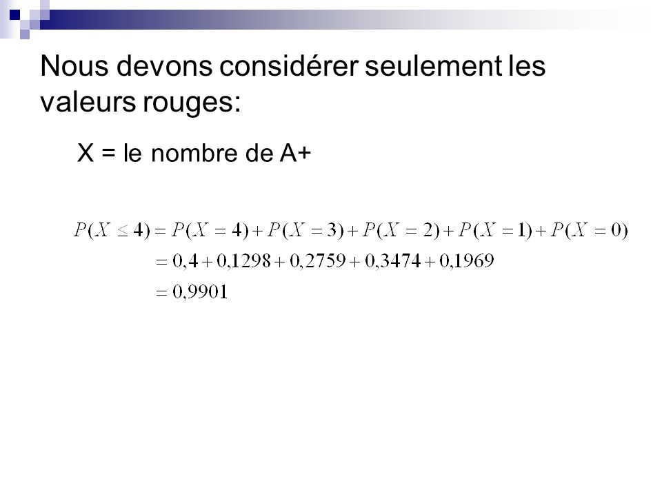 Nous devons considérer seulement les valeurs rouges: X = le nombre de A+