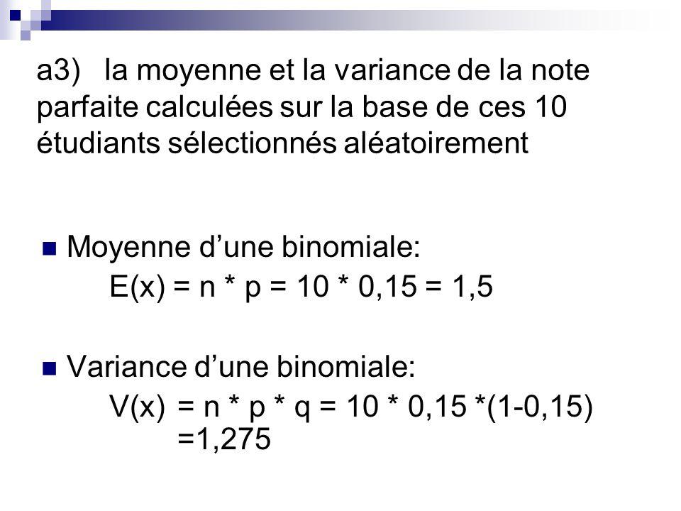 a3)la moyenne et la variance de la note parfaite calculées sur la base de ces 10 étudiants sélectionnés aléatoirement Moyenne dune binomiale: E(x) = n