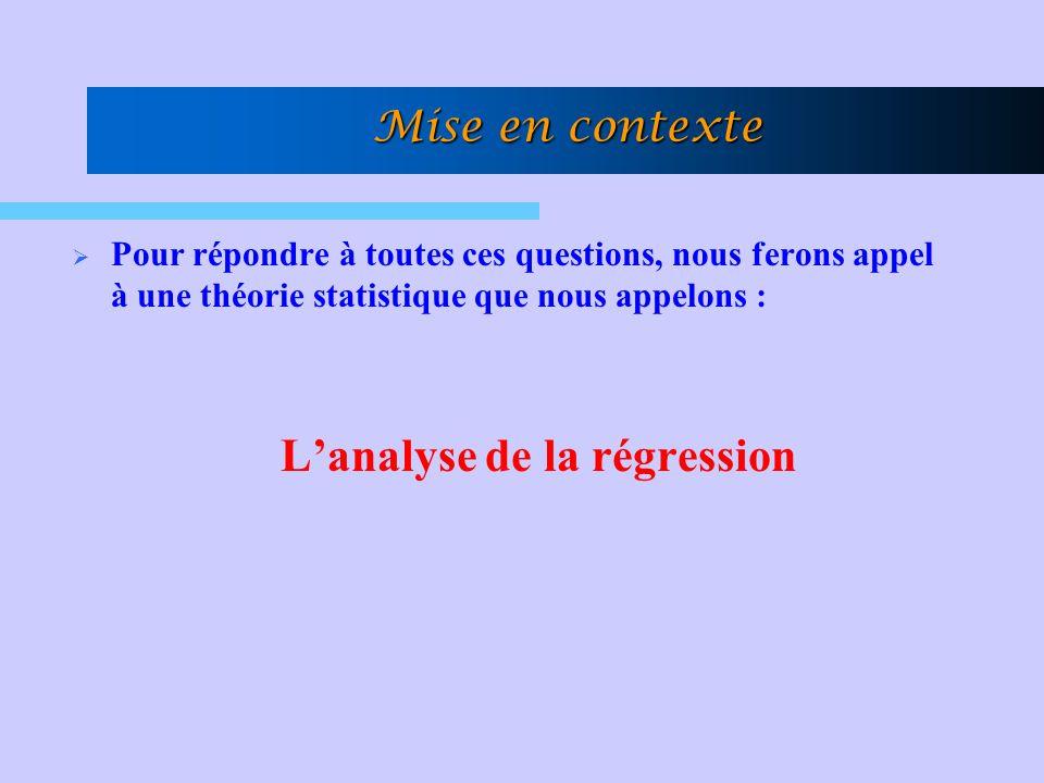 Test F Hypothèses H 0 : 1 = 0 H a : 1 0 –Règle de rejet Pour = 0,05 et d.l.