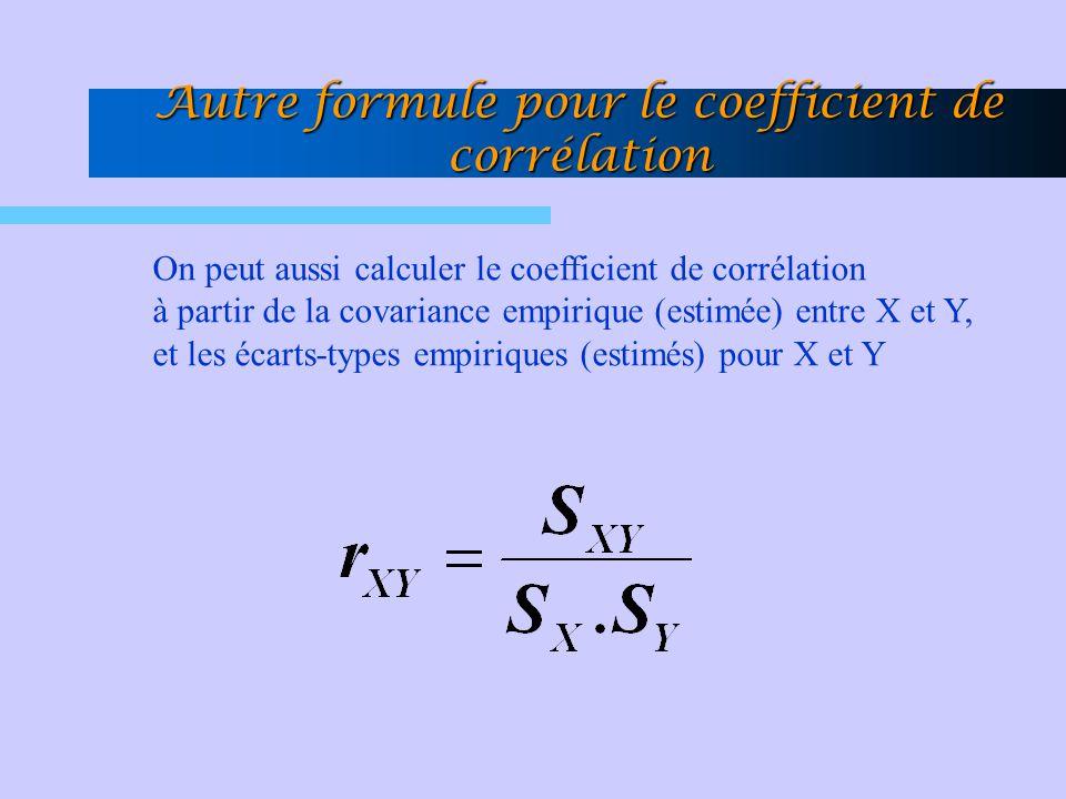 Autre formule pour le coefficient de corrélation On peut aussi calculer le coefficient de corrélation à partir de la covariance empirique (estimée) en