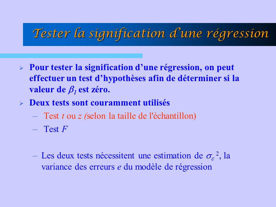 Tester la signification dune régression Pour tester la signification dune régression, on peut effectuer un test dhypothèses afin de déterminer si la v