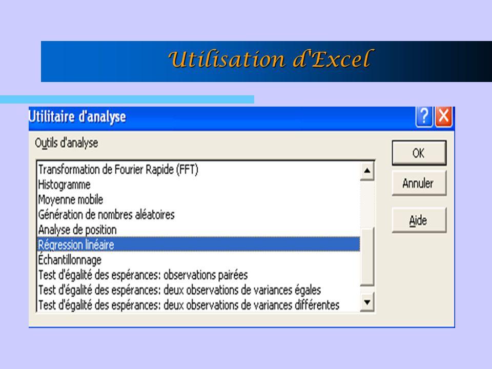 Utilisation d'Excel