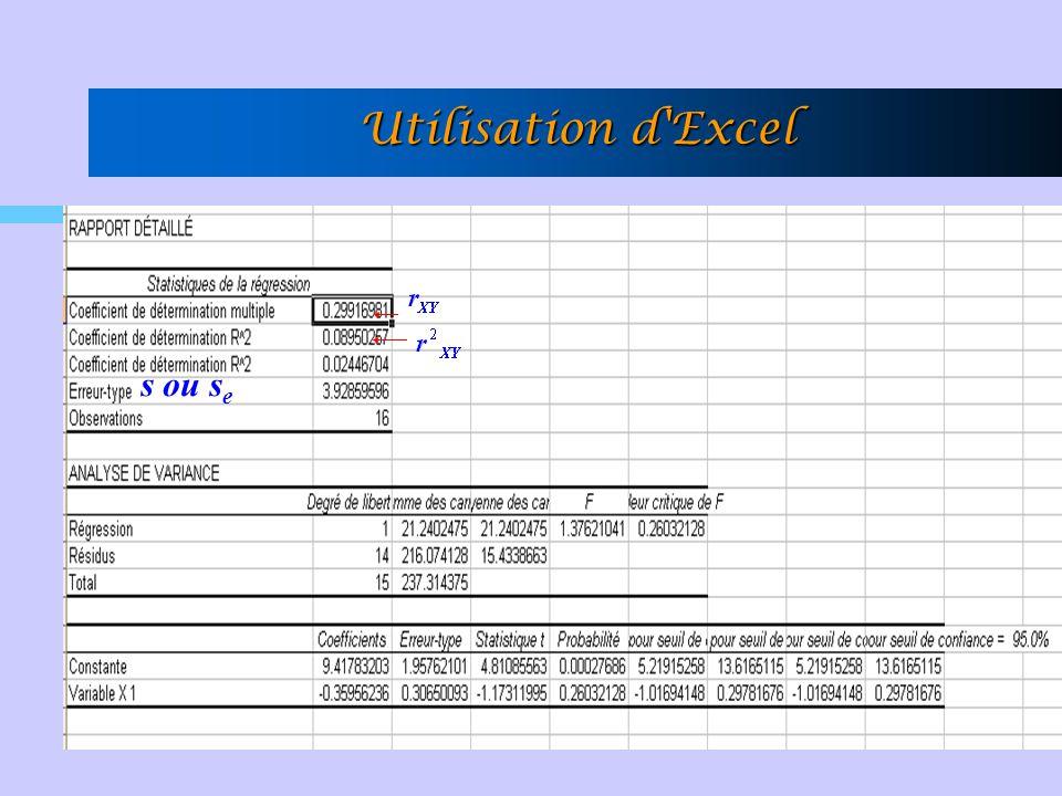 Utilisation d'Excel s ou s e