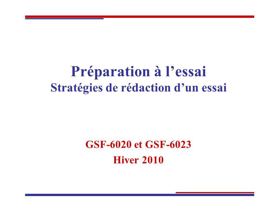 Préparation à lessai Stratégies de rédaction dun essai GSF-6020 et GSF-6023 Hiver 2010