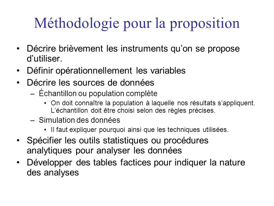 Méthodologie pour la proposition Décrire brièvement les instruments quon se propose dutiliser.