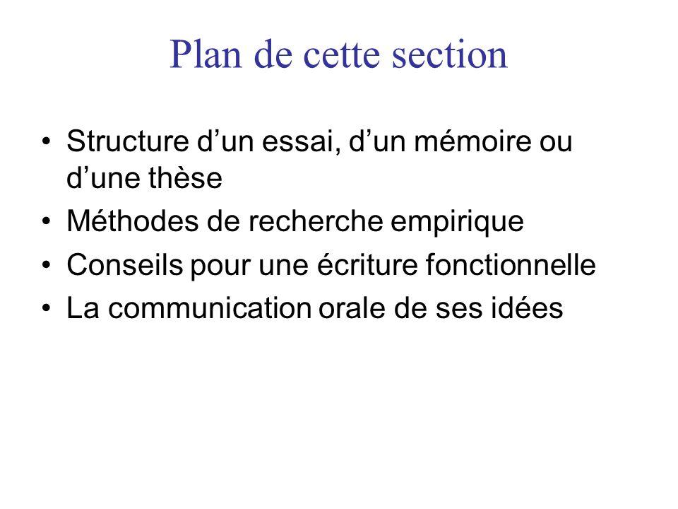 Plan de cette section Structure dun essai, dun mémoire ou dune thèse Méthodes de recherche empirique Conseils pour une écriture fonctionnelle La communication orale de ses idées