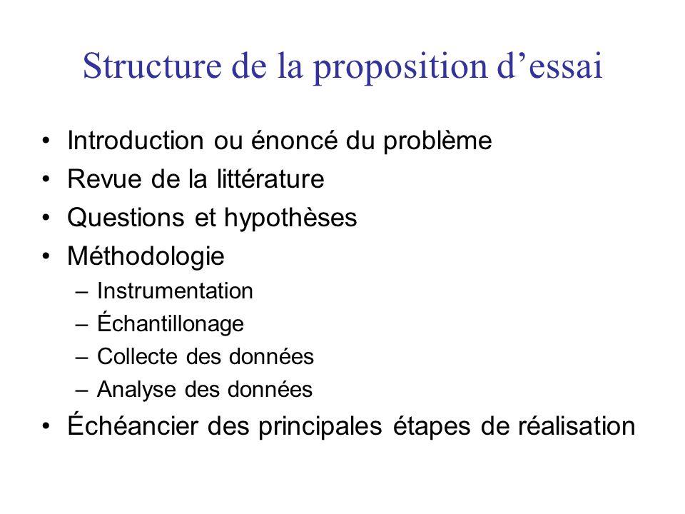 Structure dun essai, dun mémoire ou dune thèse Lessai, le mémoire ou la thèse, est le développement écrit de réflexions sur une question, un phénomène ou un sujet donné.