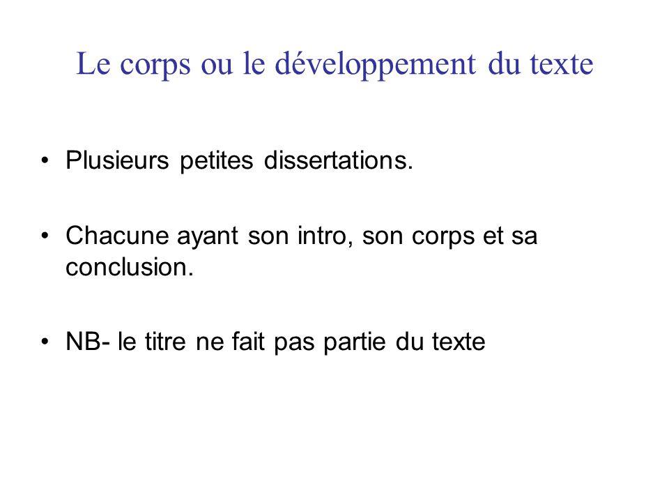Le corps ou le développement du texte Plusieurs petites dissertations.