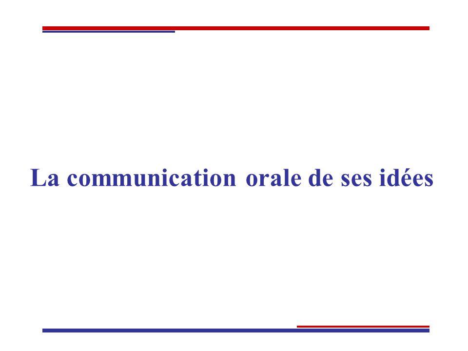La communication orale de ses idées