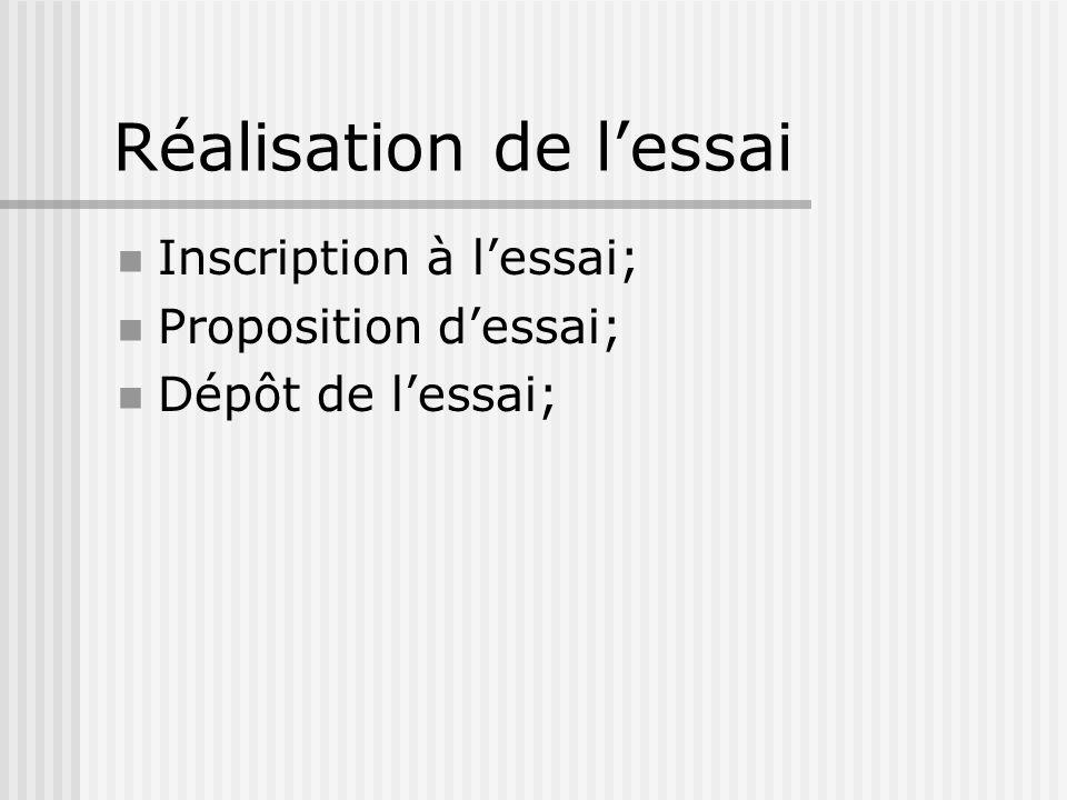 Réalisation de lessai Inscription à lessai; Proposition dessai; Dépôt de lessai;