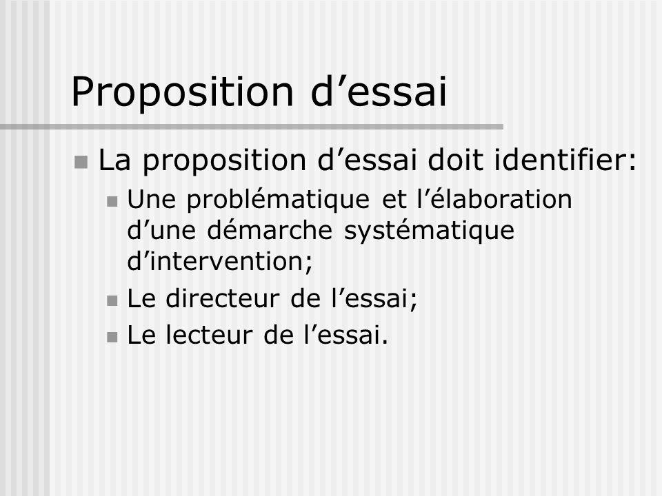 Proposition dessai La proposition dessai doit identifier: Une problématique et lélaboration dune démarche systématique dintervention; Le directeur de lessai; Le lecteur de lessai.