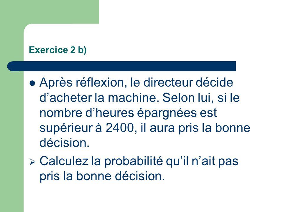 Exercice 2 b) Après réflexion, le directeur décide dacheter la machine. Selon lui, si le nombre dheures épargnées est supérieur à 2400, il aura pris l