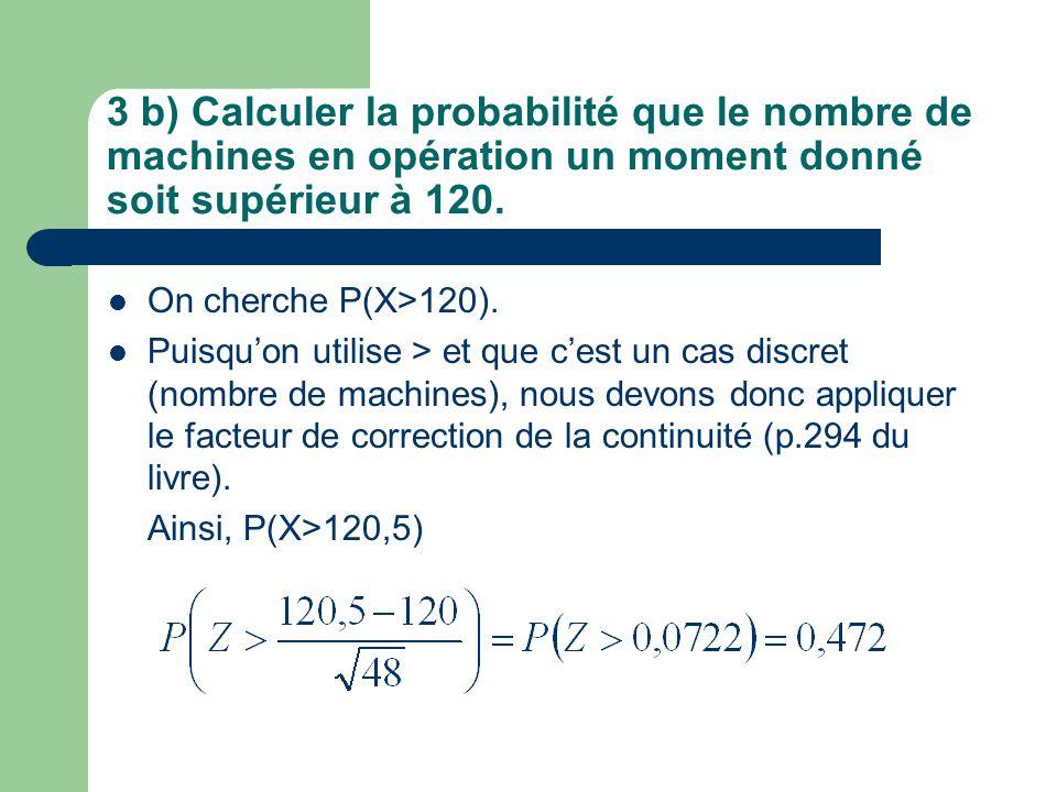 3 b) Calculer la probabilité que le nombre de machines en opération un moment donné soit supérieur à 120. On cherche P(X>120). Puisquon utilise > et q