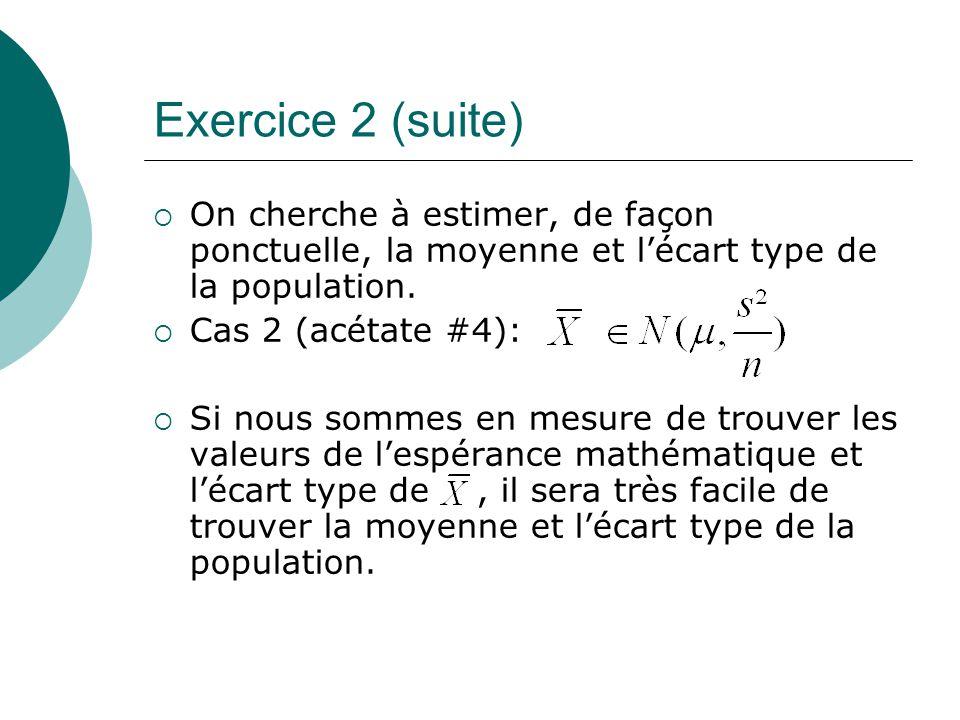 Exercice 2 (suite) On cherche à estimer, de façon ponctuelle, la moyenne et lécart type de la population. Cas 2 (acétate #4): Si nous sommes en mesure