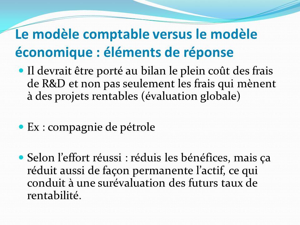 Le modèle comptable versus le modèle économique : éléments de réponse Il devrait être porté au bilan le plein coût des frais de R&D et non pas seuleme