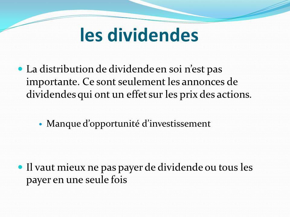 les dividendes La distribution de dividende en soi nest pas importante. Ce sont seulement les annonces de dividendes qui ont un effet sur les prix des
