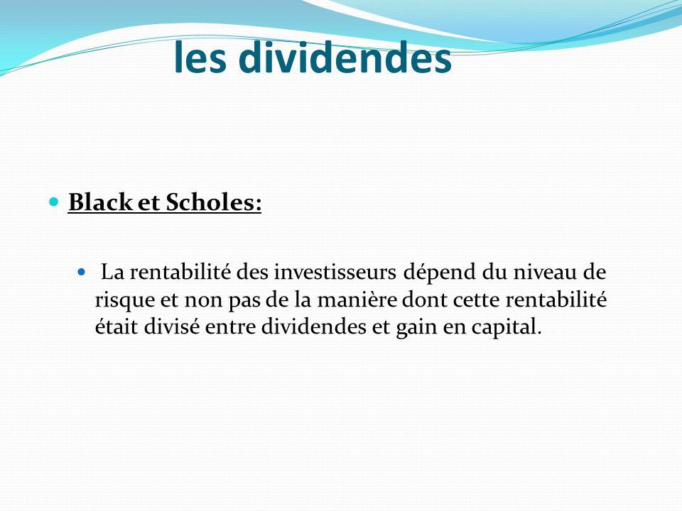 les dividendes Black et Scholes: La rentabilité des investisseurs dépend du niveau de risque et non pas de la manière dont cette rentabilité était div