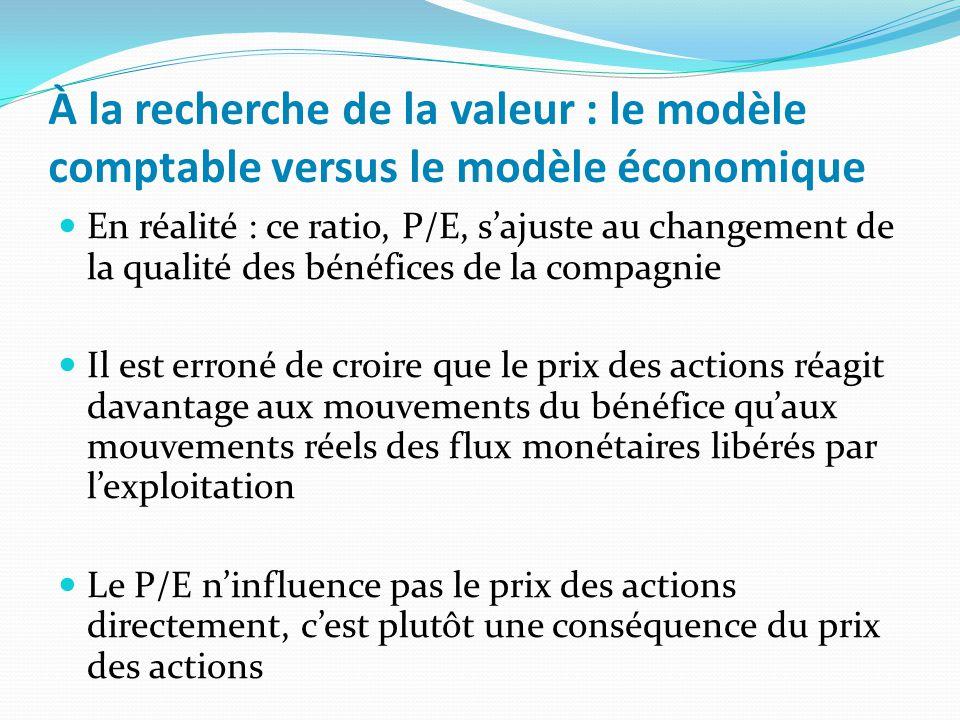 À la recherche de la valeur : le modèle comptable versus le modèle économique Le modèle économique le prix des actions est déterminé par les flux monétaires générés pendant lexploitation dune entreprise et par le risque associé à la réception de ces flux