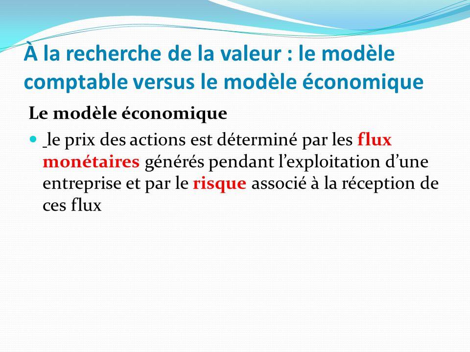 À la recherche de la valeur : le modèle comptable versus le modèle économique Le modèle économique le prix des actions est déterminé par les flux moné