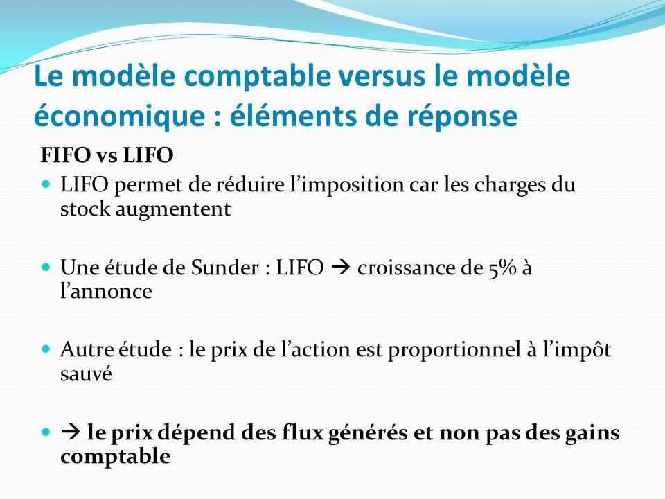 Le modèle comptable versus le modèle économique : éléments de réponse FIFO vs LIFO LIFO permet de réduire limposition car les charges du stock augment