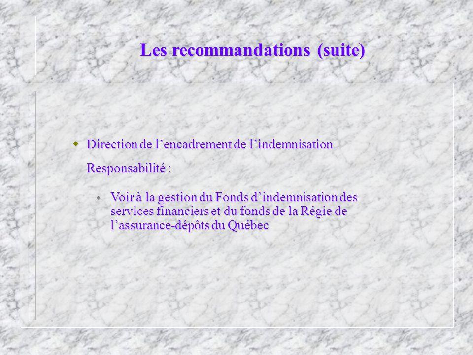 Les recommandations (suite) Direction de lencadrement de lindemnisation Direction de lencadrement de lindemnisation Responsabilité : Voir à la gestion du Fonds dindemnisation des services financiers et du fonds de la Régie de lassurance-dépôts du Québec Voir à la gestion du Fonds dindemnisation des services financiers et du fonds de la Régie de lassurance-dépôts du Québec