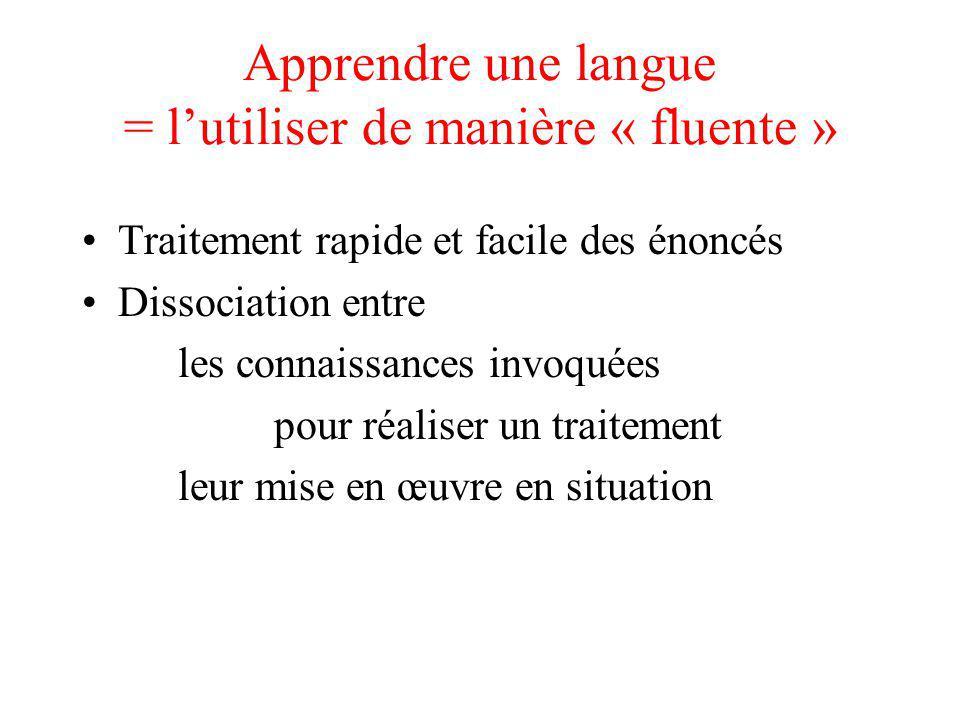 Apprendre une langue = lutiliser de manière « fluente » Traitement rapide et facile des énoncés Dissociation entre les connaissances invoquées pour ré