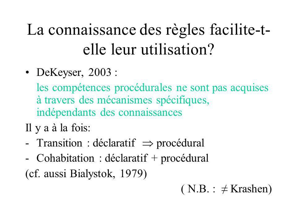La connaissance des règles facilite-t- elle leur utilisation? DeKeyser, 2003 : les compétences procédurales ne sont pas acquises à travers des mécanis
