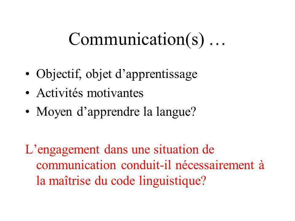 Communication(s) … Objectif, objet dapprentissage Activités motivantes Moyen dapprendre la langue? Lengagement dans une situation de communication con