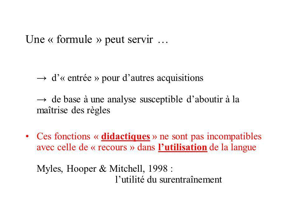 Une « formule » peut servir … d« entrée » pour dautres acquisitions de base à une analyse susceptible daboutir à la maîtrise des règles Ces fonctions