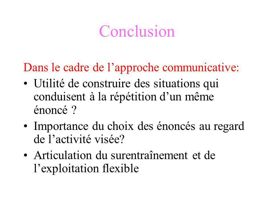 Conclusion Dans le cadre de lapproche communicative: Utilité de construire des situations qui conduisent à la répétition dun même énoncé ? Importance