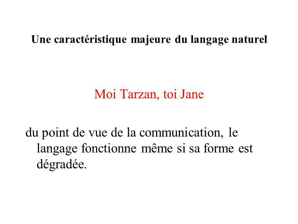 Une caractéristique majeure du langage naturel Moi Tarzan, toi Jane du point de vue de la communication, le langage fonctionne même si sa forme est dé